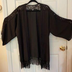 Beautiful Black Lace Kimono, XL